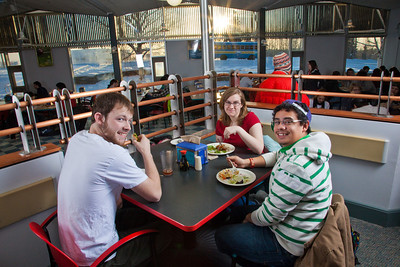 Students enjoy their lunch break in the Lola Tilly Commons.  Filename: LIF-11-3220-138.jpg