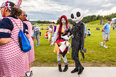 Participants in the 2016 Midnight Sun Run dress up in costume for the popular event near the summer solstice.  Filename: LIF-16-4918-19.jpg