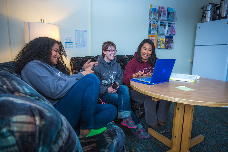 """Undergraduates Kisha Lee, left, Michaela Lockes and Dyane Chung relax after class in the student lounge at UAF's Kuskokwim Campus in Bethel.  <div class=""""ss-paypal-button"""">Filename: LIF-16-4859-144.jpg</div><div class=""""ss-paypal-button-end""""></div>"""
