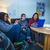 "Undergraduates Kisha Lee, left, Michaela Lockes and Dyane Chung relax after class in the student lounge at UAF's Kuskokwim Campus in Bethel.  <div class=""ss-paypal-button"">Filename: LIF-16-4859-144.jpg</div><div class=""ss-paypal-button-end""></div>"