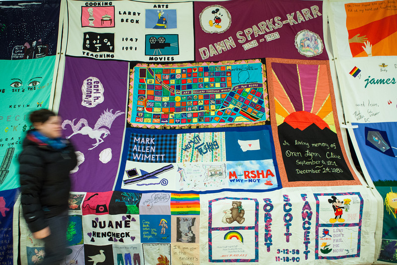 "The AIDS memorial quilt is displayed at the Wood Center for three days during the World Aids Day activities sponsored by UAF Student Activities Department and UAF Social Work program in Dec. 2012.  <div class=""ss-paypal-button"">Filename: LIF-12-3668-1.jpg</div><div class=""ss-paypal-button-end"" style=""""></div>"