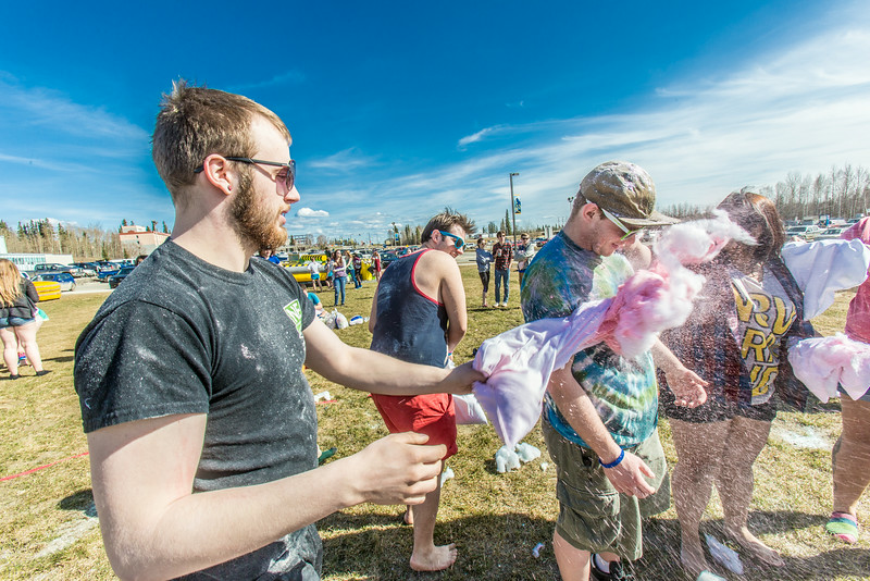 "Pillows filled with fluff and colored dye were used during a fun pillow fight as one of the attractions at UAF's SpringFest Field Day April 28.  <div class=""ss-paypal-button"">Filename: LIF-14-4168-278.jpg</div><div class=""ss-paypal-button-end""></div>"