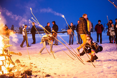 Participants from the 2013 USSA Junior National Cross Country Ski Championships make s'mores at a  bonfire after the awards ceremony at the Student Recreation Center March 16, 2013.  Filename: LIF-13-3760-31.jpg