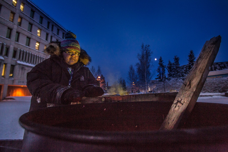 """Grace Amundson puts in her time at the week-long homeless vigil maintained 24-hours-a day in Constitution Park by students in the UAF Honors Program. The temperature at the time was a brisk -30°.  <div class=""""ss-paypal-button"""">Filename: LIF-13-4002-15.jpg</div><div class=""""ss-paypal-button-end"""" style=""""""""></div>"""