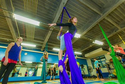 Members of the UAF Silk Club practice their formations in the Student Recreation Center on the Fairbanks campus. The group, which boasts about 25 students and staff members meet twice a week to learn new moves and increase strength and flexibility.  Filename: LIF-13-4025-43.jpg