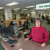 "Associate professor of library science Suzan Hahn works the reference desk in the UAF Rasmuson Library on the Fairbanks campus.  <div class=""ss-paypal-button"">Filename: LIF-14-4045-169.jpg</div><div class=""ss-paypal-button-end""></div>"