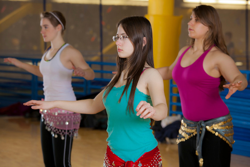 """(back left to right) Katheryn Zimmerman, Heather Butler and Ellen Mitchell (front) learn how to middle eastern dance in one of the recreation classes offered at the student rec center on campus.  <div class=""""ss-paypal-button"""">Filename: LIF-11-3194-30.jpg</div><div class=""""ss-paypal-button-end"""" style=""""""""></div>"""
