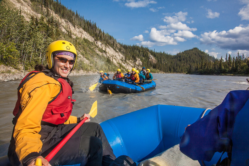 """Participants in a UAF Outdoor Adventures day-long raft trip paddle down the Nenana River.  <div class=""""ss-paypal-button"""">Filename: OUT-12-3492-185.jpg</div><div class=""""ss-paypal-button-end"""" style=""""""""></div>"""