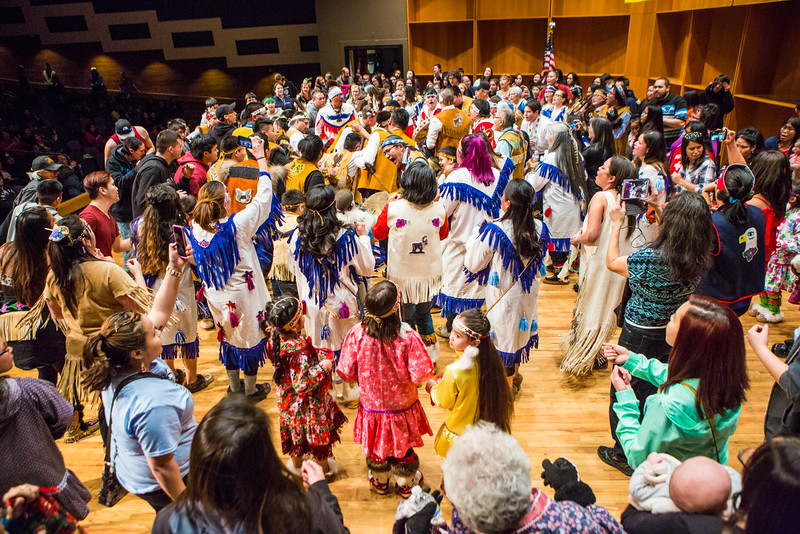 """The audience joins the Stevens Village dancers during the 2016 Festival of Native Arts.  <div class=""""ss-paypal-button"""">Filename: LIF-16-4836-170.jpg</div><div class=""""ss-paypal-button-end""""></div>"""