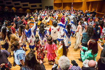 The audience joins the Stevens Village dancers during the 2016 Festival of Native Arts.  Filename: LIF-16-4836-170.jpg