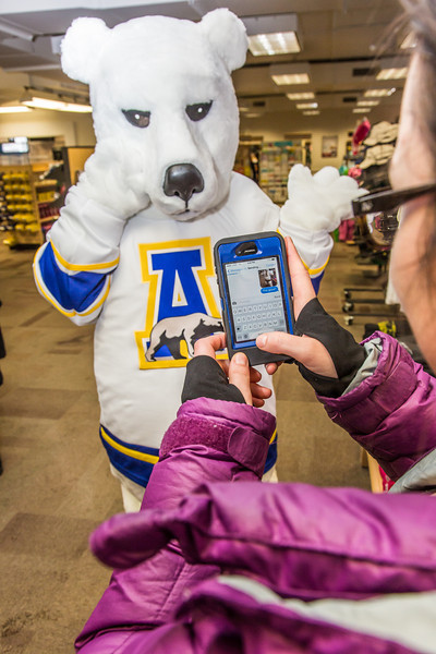 """The UAF mascot tries on a new jersey in the UAF Bookstore in Constitution Hall.  <div class=""""ss-paypal-button"""">Filename: LIF-14-4101-47.jpg</div><div class=""""ss-paypal-button-end"""" style=""""""""></div>"""