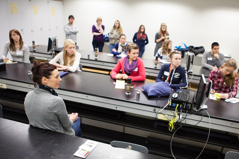 """Education Coordinator, Megan Gooding from the Interior Alaska Area Health Education Center speak s to high school and college students on careers in healthcare at the 2012 Alaska Interior Medical Education Summit Saturday, Oct. 27, 2012 at the Reichardt Building.  <div class=""""ss-paypal-button"""">Filename: LIF-12-3617-28.jpg</div><div class=""""ss-paypal-button-end"""" style=""""""""></div>"""