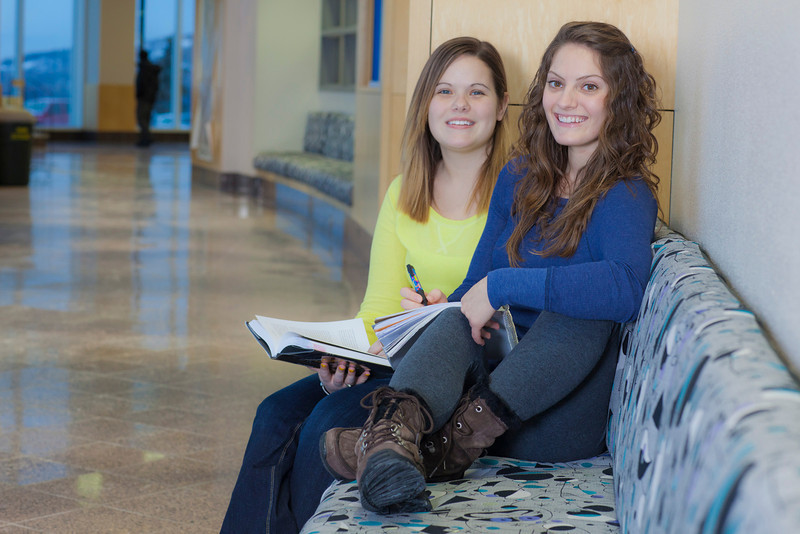 "Megan Gilmore (left) and Ashley Bartolowits (right) study in the hallway of the Syun-Ichi Akasofu building on campus.  <div class=""ss-paypal-button"">Filename: LIF-11-3242-161.jpg</div><div class=""ss-paypal-button-end"" style=""""></div>"