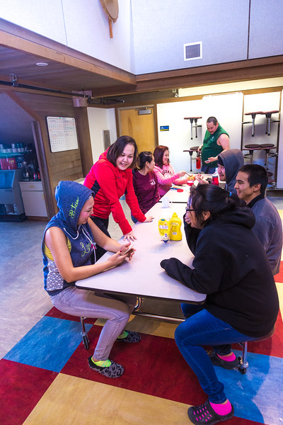"""Students relax after a day of classes in the Sacket Hall dining room on UAF's Kuskokwim Campus in Bethel.  <div class=""""ss-paypal-button"""">Filename: LIF-16-4859-501-2.jpg</div><div class=""""ss-paypal-button-end""""></div>"""