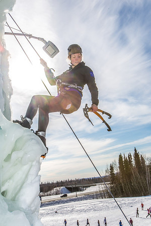 Engineering major Heather Edic enjoys a late season climb up the UAF ice wall on April 4.  Filename: LIF-14-4132-26.jpg