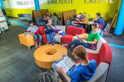 Students mingle and study in the Nook computer lounge in the Bunnell Building on the Fairbanks campus.  Filename: LIF-13-3987-52.jpg