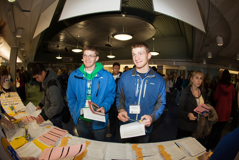 """From left, Robert and James Colles listen to the rules and regulations from residence life after receiving their room assignments Sunday, August 26, 2012 at the Hess Recreation Center during new student orientation.  <div class=""""ss-paypal-button"""">Filename: LIF-12-3511-73.jpg</div><div class=""""ss-paypal-button-end"""" style=""""""""></div>"""