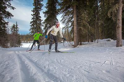UAF students Ian Wilkinson and Raphaela Sieber enjoy a morning loop around the campus ski trails.  Filename: LIF-12-3348-14.jpg