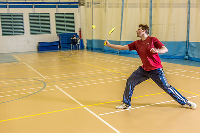 Intramural badminton action on a Tuesday night at the Student Recreation Center.  Filename: LIF-14-4111-132.jpg