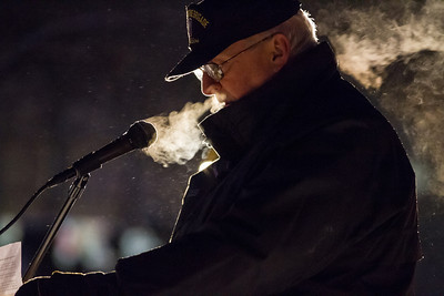 Chairman of the Alaska Veterans Advisory Council, Joe Fields, speaks to a small audience of community members and veterans gathered at Constitution Park Monday, Nov. 12, 2012, during the closing ceremony of the 2012 Veterans Day Memorial Roll Call.  Filename: LIF-12-3644-93.jpg