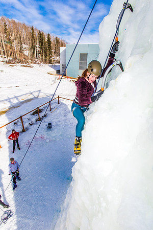 Engineering major Mia Anderson enjoys a late season climb up the UAF ice wall on April 4.  Filename: LIF-14-4132-75.jpg