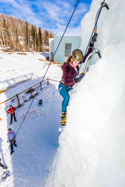"""Engineering major Mia Anderson enjoys a late season climb up the UAF ice wall on April 4.  <div class=""""ss-paypal-button"""">Filename: LIF-14-4132-75.jpg</div><div class=""""ss-paypal-button-end"""" style=""""""""></div>"""