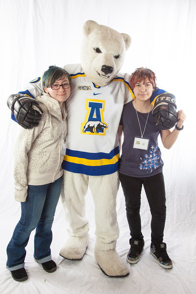 """Future UAF students pose with the Nanook mascot during InsideOut.  <div class=""""ss-paypal-button"""">Filename: LIF-12-3334-109.jpg</div><div class=""""ss-paypal-button-end"""" style=""""""""></div>"""