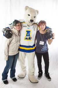 Future UAF students pose with the Nanook mascot during InsideOut.  Filename: LIF-12-3334-109.jpg