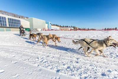 Sled dogs pull riders on another run around Beluga Field during a mushing event in front of the SRC  Saturday, Feb. 22 as part of UAF's 2014 Winter Carnival.  Filename: LIF-14-4089-41.jpg