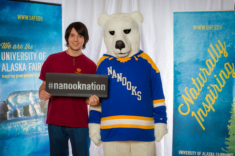 """Prospective students pose with the UAF mascot during the Fall 2015 Inside Out event hosted by UAF's office of admissions and the registrar.  <div class=""""ss-paypal-button"""">Filename: LIF-14-4353-40.jpg</div><div class=""""ss-paypal-button-end""""></div>"""