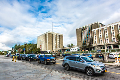 Returning students, staff and parents all pitch in to help new arrivals move into the residence halls during Rev It Up on the Fairbanks campus at the beginning of the fall 2015 semester.  Filename: LIF-15-4636-119.jpg