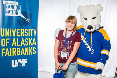 Prospective students take a portrait during the summer 2016 Inside Out event hosted by the UAF's Office of Admissions and the Registrar.  Filename: LIF-16-4926-13.jpg