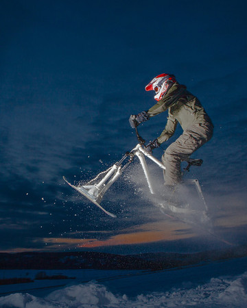 """Engineering major Mike Stanfill tests out his modified ski-bike on the UAF sledding hill.  <div class=""""ss-paypal-button"""">Filename: LIF-12-3305-9.jpg</div><div class=""""ss-paypal-button-end"""" style=""""""""></div>"""