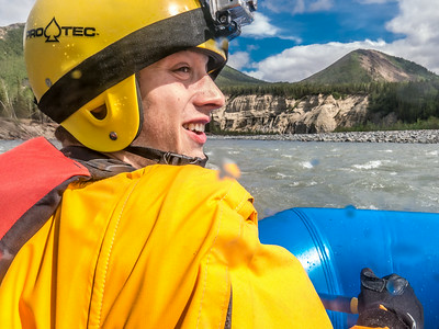 Biology major Isaac Van Flein joined UAF Outdoor Adventures on a raft trip down the Nenana River in June, 2014.  Filename: OUT-14-4211-345.jpg