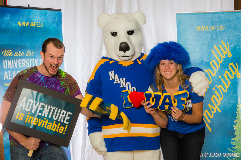 "Prospective students pose with the UAF mascot during the Fall 2015 Inside Out event hosted by UAF's office of admissions and the registrar.  <div class=""ss-paypal-button"">Filename: LIF-14-4353-7.jpg</div><div class=""ss-paypal-button-end""></div>"
