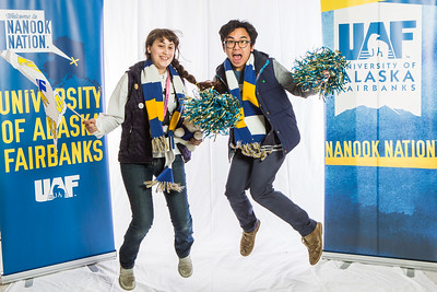 UAF student ambassadors pose for photos during the photobooth at Inside Out.  Filename: LIF-16-4839-2.jpg