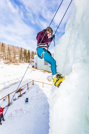 Engineering major Mia Anderson enjoys a late season climb up the UAF ice wall on April 4.  Filename: LIF-14-4132-92.jpg