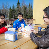 "Ruonan Wu (left) Liang Li (center) Zhenzihao Zhang (right) enjoy lunch on the Wood Center deck.  <div class=""ss-paypal-button"">Filename: LIF-12-3356-158.jpg</div><div class=""ss-paypal-button-end"" style=""""></div>"