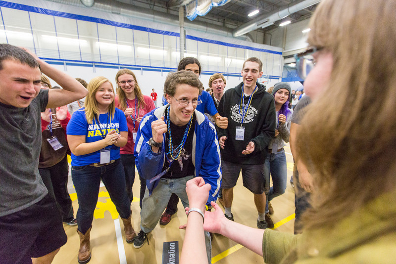 """Tim Schmidt competes in a game of Rock, Paper, Scissors at the last event of New Student Orientation at the Student Rec. Center.  <div class=""""ss-paypal-button"""">Filename: LIF-13-3924-254.jpg</div><div class=""""ss-paypal-button-end"""" style=""""""""></div>"""