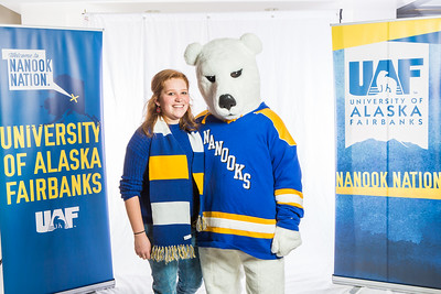 Future UAF students and family members pose with the Nanook mascot during Inside Out.  Filename: LIF-16-4839-47.jpg