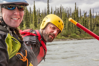 Outdoor Adventures student guides Lily Grbavach and Pat Karr helped lead a group of UAF students and staff on a float trip down the Nenana River in June, 2014.  Filename: OUT-14-4211-205.jpg