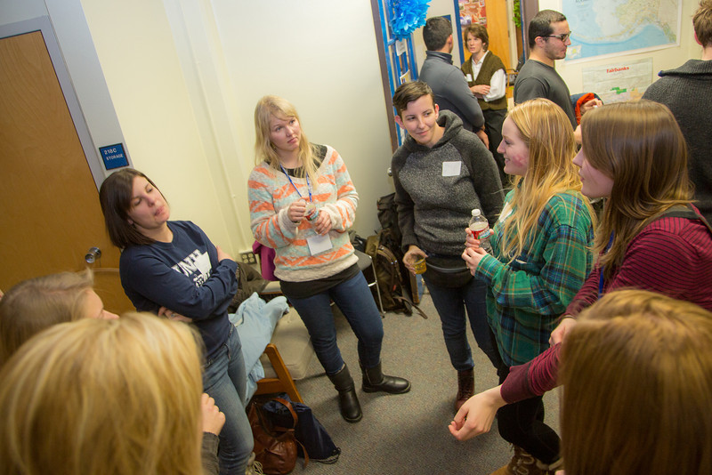 """International and transfer students meet and mingle in the International Programs office in the Eielson Building on the first day of the spring 2013 semester.  <div class=""""ss-paypal-button"""">Filename: LIF-13-3698-7.jpg</div><div class=""""ss-paypal-button-end"""" style=""""""""></div>"""
