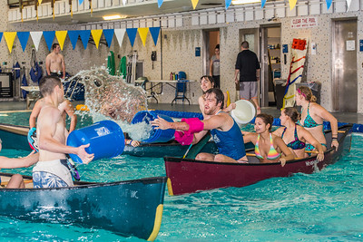 Battleship is a popular intramural sport at UAF. Teams in canoes try to swamp each other's boats during a tournament in the Patty pool.  Filename: LIF-13-3975-56.jpg
