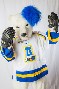 The Nanook mascot poses for photos during UAF's InsideOut event.  Filename: LIF-12-3334-145.jpg