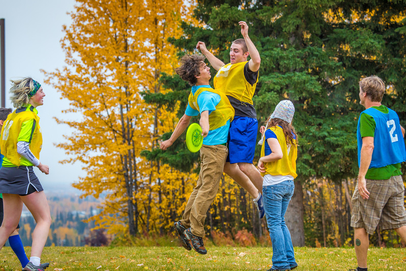 """Logan Howlett, in air at right, celebrates a score with Adam McCombs during an ultimate frisbee scrimmage yesterday on campus.  <div class=""""ss-paypal-button"""">Filename: LIF-12-3557-140.jpg</div><div class=""""ss-paypal-button-end"""" style=""""""""></div>"""
