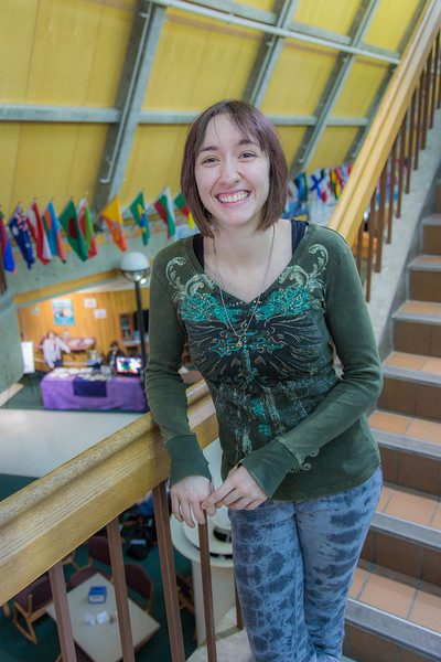 """2013 UAF graduate Hannah Foss poses in the Wood Center.  <div class=""""ss-paypal-button"""">Filename: LIF-13-3726-114.jpg</div><div class=""""ss-paypal-button-end"""" style=""""""""></div>"""