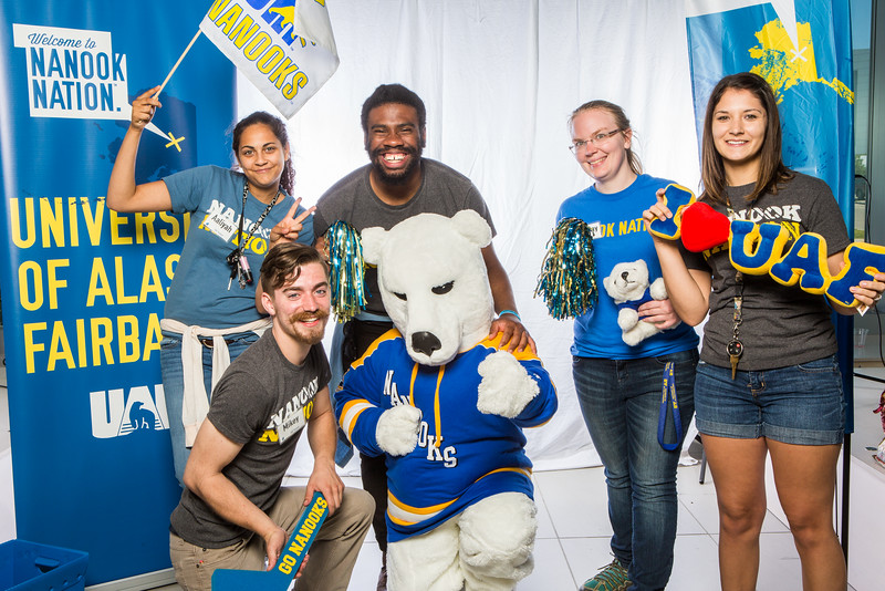 """UAF student ambassadors take a portrait during the summer 2016 Inside Out event hosted by the UAF's Office of Admissions and the Registrar.  <div class=""""ss-paypal-button"""">Filename: LIF-16-4926-73.jpg</div><div class=""""ss-paypal-button-end""""></div>"""