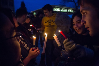 Students commemorate the 1957 Tradition Stone candlelight vigil on Constitution Park on March of 2013.  Filename: LIF-13-3763-1.jpg