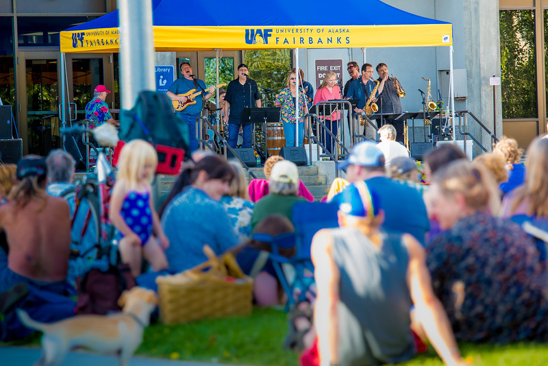 """The Glass Bead Game, a popular rock 'n roll band in Fairbanks from the early 1970s, met for a free reunion concert in front of the Rasmuson Library on the Fairbanks campus in July, 2012.  <div class=""""ss-paypal-button"""">Filename: LIF-12-3462-163.jpg</div><div class=""""ss-paypal-button-end"""" style=""""""""></div>"""