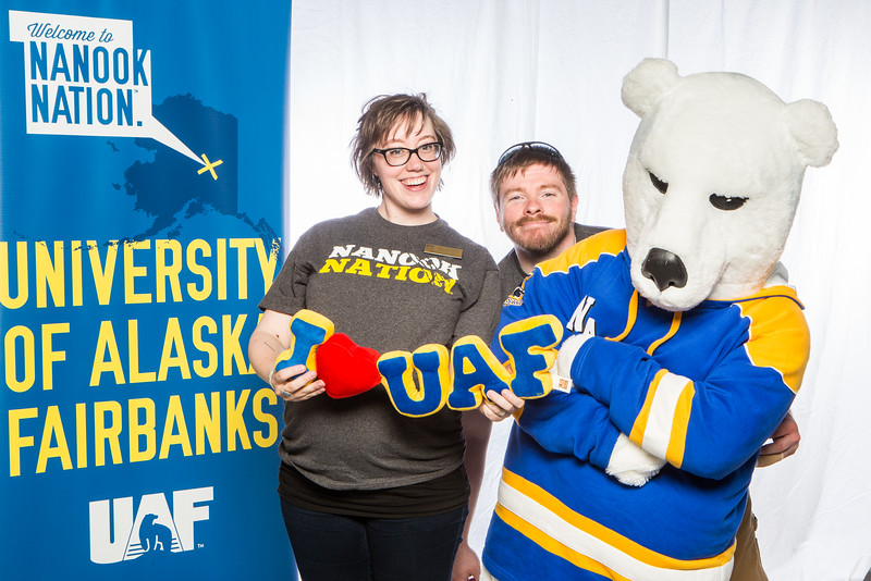 "UAF Admissions staff take a portrait during the summer 2016 Inside out event at the Murie Auditorium.  <div class=""ss-paypal-button"">Filename: LIF-16-4926-50.jpg</div><div class=""ss-paypal-button-end""></div>"